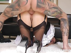 This maid ends her day with a stiff cock buried in her tight pussy