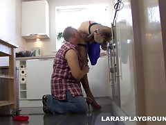 A construction worker fucks this housewife all over her home