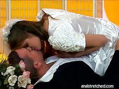 Deflowered bride gets her anal stretched after wedding