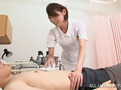 Japanese nurse jerks off and sucks a patient's pecker