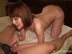 Incredibly hot Japanese MILF gets her pussy poker properly