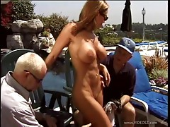 Cuckold action where a MILF fucks another guy in a pool