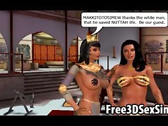 Sexy 3D cartoon lesbian hotties going at it together