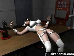 3d electric masked girl gets into bondage