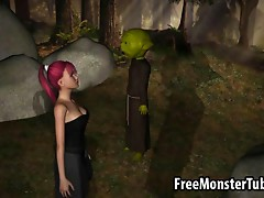 3D redhead babe sucking off Yoda in the woods