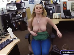 Pretty girl pawns her pussy and pounded for a pearl necklace
