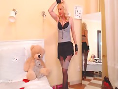 www.sexroulette24.com - Mature Blond teases and dances on webcam Pantyhose stockings