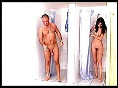Brunette sucks and fucks stranger in public showers