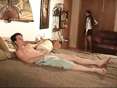 NastyPlace.org - He was lying on a bed when his sister came and he fucks her