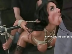 Delicious busty babe forced to swallow