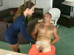 Hot brunette Renna forcing men to come