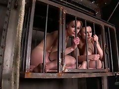 Two Hot Blonde Babes Caged, Flogged &_ Forced To Suck &_ Fuck