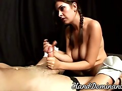 blonde forces slave to cum