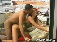 Busty amateur girlfriend fucked on the roof with creampie