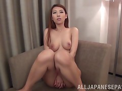 Mai Takizawa cums on her toy then lets a guy drill her