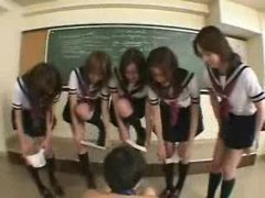 Japanese schoolgirls in action