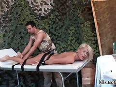Sexy blond chick with big tits gets her movie
