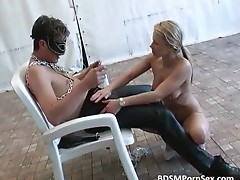 Dude gets blowjob by horny blond bitch