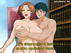 Busty anime babes getting a cock