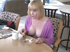 Mother and Not Her Son Have Breakfast