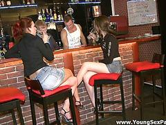 Hot sex in bar