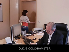 Sexy secretary striptease to fucks his old boss