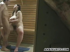 Busty chubby amateur girl sucks and fucks in a spa