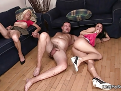 I just found my GF riding my dad's cock