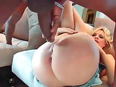 Blonde sluts Yasmine rides a black dick crazily
