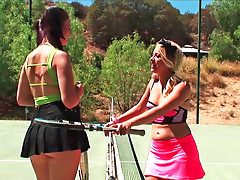 Two girl are playing tennis and betting before having sex