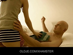 Bald old man fucked by a nymphomaniac young maid
