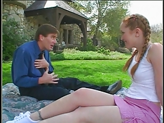 Redhead schoolgirl banged on the lawn