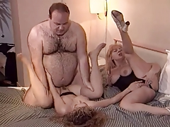 Old Hairy Man With MILF And Teen