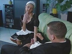 skinny maid jerks off her boss