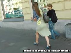 Risky public restroom amateur sex