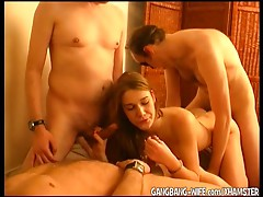 Young whore dilettante whore group-fucked by mature chaps