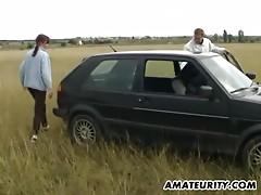 Dilettante young slut girlfriend outdoor trio with facial