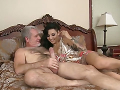 Sexually excited old chap sends large bulky wang in sleek taut love tunnel