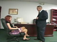 Wicked redhead legal age teenager kicks Oriental man in his balls in femdom clip
