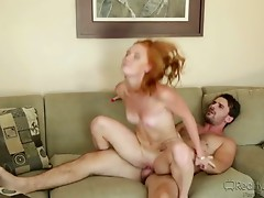 This impossibly lascivious redhead keeps her paramour gratified each day