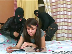 Darksome haired white angel Dina want to engulf 2 beefy ramrods of masked buddies