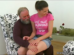Skanky Euro hottie with saggy melons is getting her vagina polished by old fart