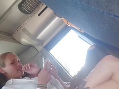 Flashing bugle for 2 sexy teenies in the bus part2