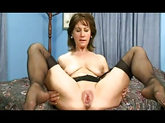 Sexy aged wife in nylons rides Big black cock