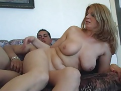 Mature woman sucks and copulates younger dude