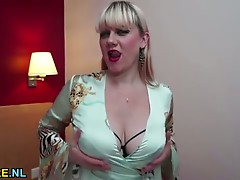 Large boobed unshaved aged toying her cum-hole