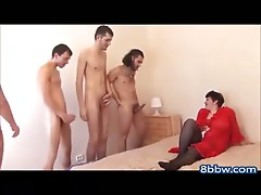 BBW Russian Mommy Banged by 4 Men