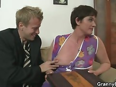 Oldie enjoys unyielding penis