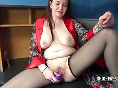 Sinful Skye is fucking her overweight cum-hole