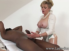 Mother I'd like to fuck Lady Sonia strokes Giant darksome dick
